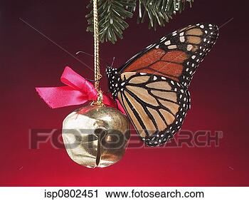 Stock Photography - a butterfly on a ribbon tied bell. fotosearch - search stock photos, pictures, wall murals, images, and photo clipart