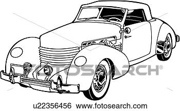 Clip Art of , 1920, 1930, 1936, automobile, car, classic