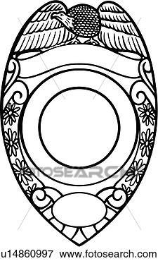 Clip Art of , badge, cop, department, deputy, emergency