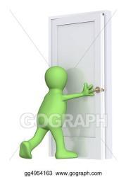 Drawing 3d puppet closing a door Clipart Drawing gg4954163 GoGraph