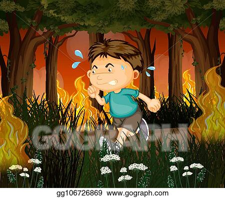 Orienteering, topographic map, compass, bearing; Vector Art A Man Run Away From Wildfire Forest Clipart Drawing Gg106726869 Gograph
