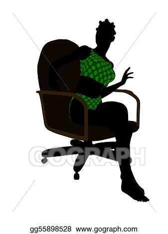 teen office chair dark teal velvet drawing african american swimsuit sitting in an silhouette