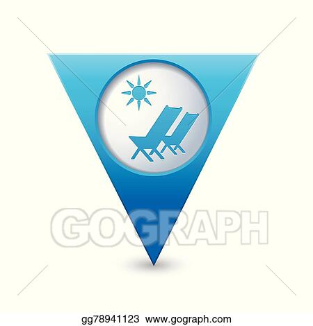 air travel beach chairs rocker chair with speakers eps vector on map pointer stock clipart illustration