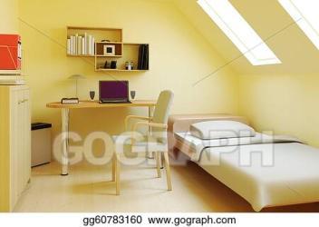 bedroom attic loft clip illustration gograph