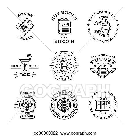 Eps Vector Bit Coin Logo Set Consisting Of Flying Money