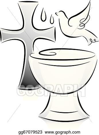 EPS Illustration Black and white baptism Vector Clipart