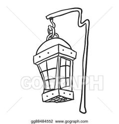 Vector Clipart Black and white hanging lamp Vector Illustration gg88484552 GoGraph