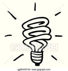 EPS Illustration Black and white light saving bulb Vector Clipart gg85443744 GoGraph