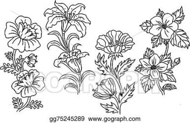 EPS Illustration Black and white outline summer flowers Vector Clipart gg75245289 GoGraph