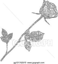 Vector Illustration Black outline silhouette of rose flower isolated on white background EPS Clipart gg101752570 GoGraph