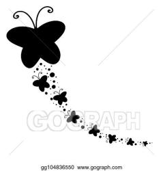 Vector Art Black silhouette of a large butterfly and flying after her little butterflies Clipart Drawing gg104836550 GoGraph