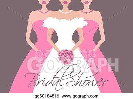 Vector Clipart  Bride and bridesmaids in pink Vector
