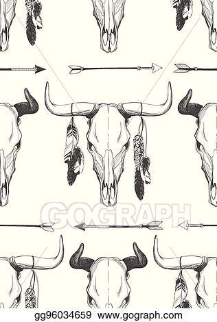 Bull Skull Clipart : skull, clipart, Vector, Clipart, Skull, Seamless, Pattern., Illustration, Gg96034659, GoGraph