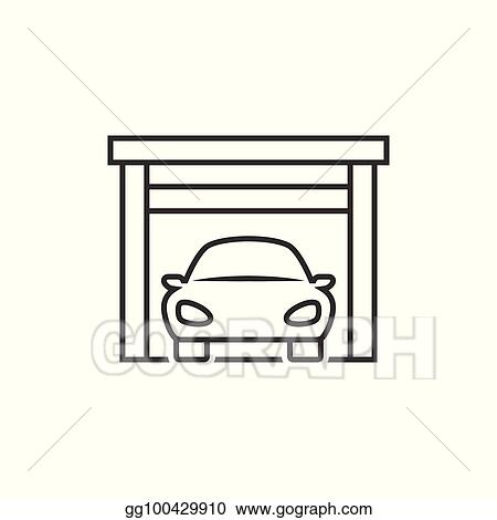 Vector Art Car On Garage Icon Clipart Drawing Gg100429910 Gograph