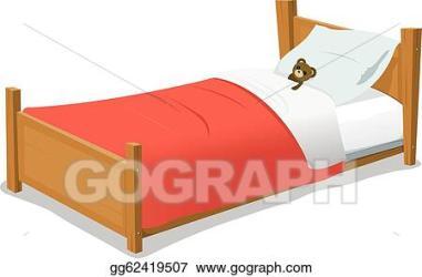 EPS Illustration Cartoon bed with teddy bear Vector Clipart gg62419507 GoGraph