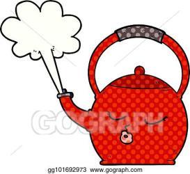 Vector Illustration Cartoon boiling kettle Stock Clip Art gg101692973 GoGraph