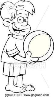 vector clipart - cartoon boy holding