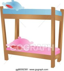 Vector Art Cartoon bunk bed Clipart Drawing gg88392381 GoGraph