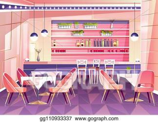 Drawing Cartoon cafe background cafeteria interior furniture Clipart Drawing gg110933337 GoGraph