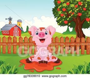 Vector Art Cartoon cute baby pig in the garden Clipart Drawing gg78339010 GoGraph