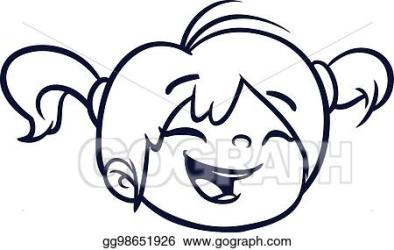 Vector Illustration Cartoon cute girl face outlined vector illustration of a small girl EPS Clipart gg98651926 GoGraph