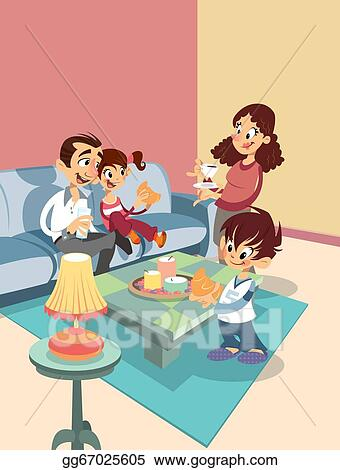 living room pictures clipart paint colors for with high ceilings stock illustration cartoon family at the clip art