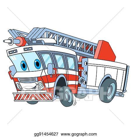 Vector Illustration Cartoon Fire Truck Stock Clip Art Gg91454627 Gograph