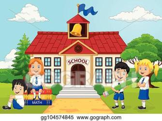 Vector Clipart Cartoon group of elementary school kids in the school yard Vector Illustration gg104574845 GoGraph