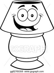 Vector Art Cartoon lamp black and white line Clipart Drawing gg62765359 GoGraph