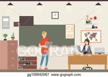 Clip Art Vector Cartoon school classroom interior Stock EPS gg109942067 GoGraph