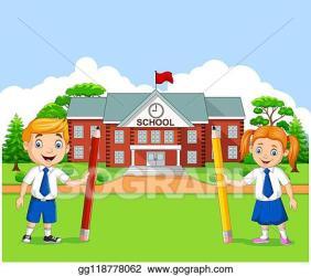 Vector Illustration Cartoon school kids in the school yard EPS Clipart gg118778062 GoGraph