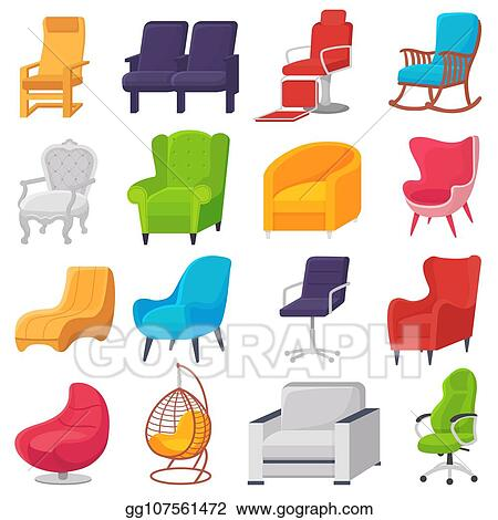 office chair illustration wedding cover hire grimsby vector art comfortable furniture armchair and modern seat design in furnished apartment interior set of business or easy
