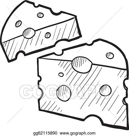 Vector Illustration Cheese wedge sketch Stock Clip Art