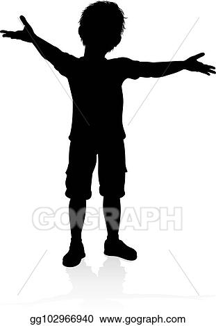 Kid Silhouette Clipart : silhouette, clipart, Vector, Stock, Child, Silhouette., Clipart, Illustration, Gg102966940, GoGraph
