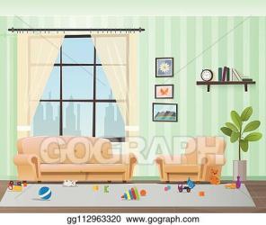 Vector Illustration Children scattered toys in messy empty living room Stock Clip Art gg112963320 GoGraph