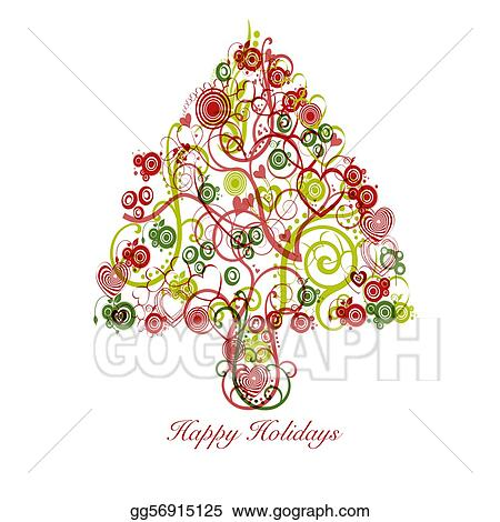 clip art - christmas tree abstract