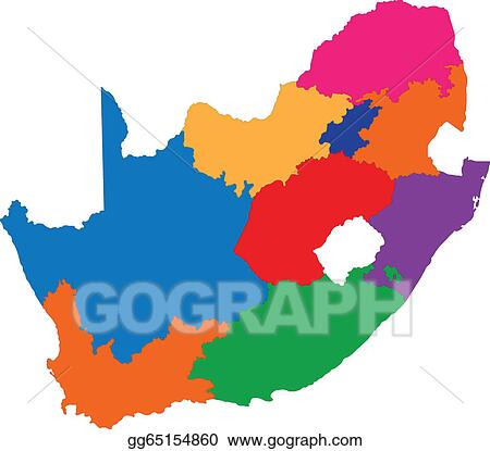 Vector Stock Colorful South Africa Map Clipart Illustration Gg65154860 Gograph