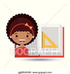 Clip Art Vector Cute girl open book study ruler squad Stock EPS gg89540494 GoGraph