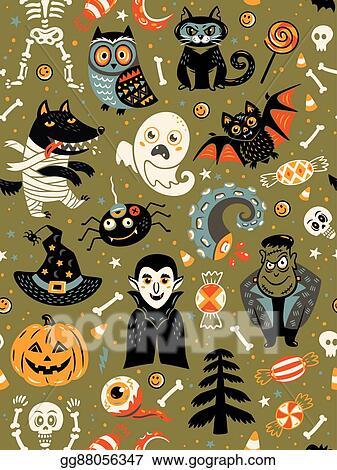 Cute Cartoon Halloween Pictures : cartoon, halloween, pictures, Vector, Illustration, Halloween, Seamless, Pattern, Cartoon, Characters., Clipart, Gg88056347, GoGraph