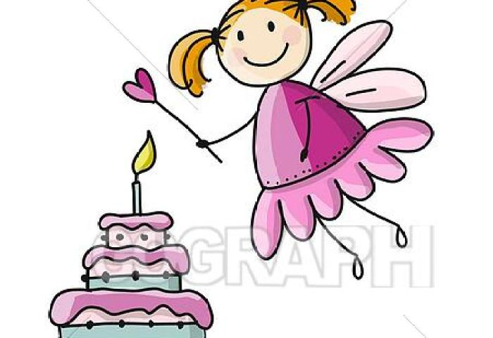 Eps Vector Cute Little Fairy With Cake Sketch For Your Design