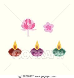 Vector Illustration Diwali candle and flowers set traditional indian festival symbols EPS Clipart gg126286817 GoGraph