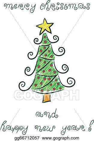 Christmas Tree Doodle : christmas, doodle, Vector, Doodle, Christmas, Tree., Stock, Gg66712057, GoGraph