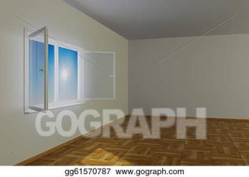room empty window open 3d clipart illustration gograph