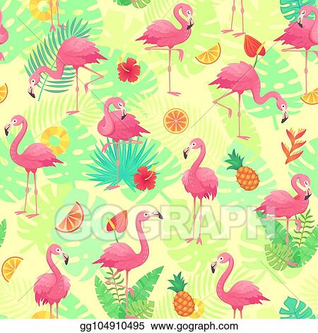 Vector Clipart Exotic Pink Flamingos Tropical Plants And Jungle Flowers Monstera And Palm