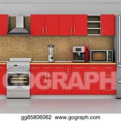 Red Kitchen Appliances Tables And More Clip Art Facade Of Front View To With 3d Illustration
