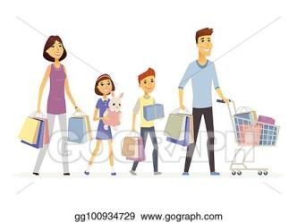 EPS Vector Family goes shopping cartoon people characters isolated illustration Stock Clipart Illustration gg100934729 GoGraph