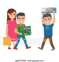 Vector Stock Family shopping illustration mother and sons Clipart Illustration gg96134342 GoGraph
