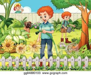 Vector Stock Father and son watering the plants in the garden Clipart Illustration gg84880103 GoGraph
