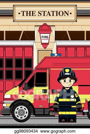 Fire Station Clipart : station, clipart, Vector, Stock, Fireman, Truck., Clipart, Illustration, Gg98093434, GoGraph