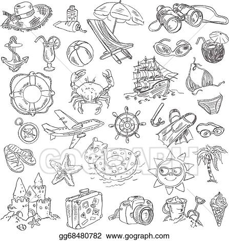 Vector Stock Freehand Drawing Summer Vacation Stock Clip Art Gg68480782 Gograph